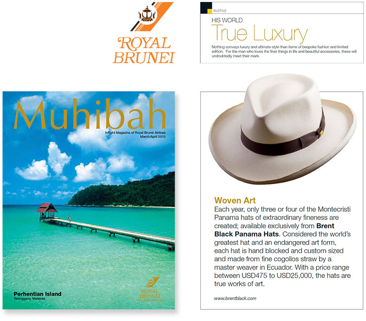 Royal Brunei's Inflight Magazine Featured My Hats