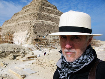 Robert G. wearing an Optimo at the Step Pyramid of Zoser in Egypt.