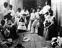 Panama Hats Historical Weavers. A group of Weavers in Ecuador around 1900