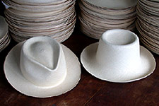 Montecristi Panama hats, blocked and unblocked