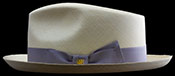 Alternative side view with the brim turned up.  Classic Fedora SB (Skinny Brim) Montecristi Panama hat.