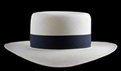 "Marcie Polo Montecristi Panama hat with a ""down in front"" brim viewed from the front"