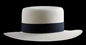 "Marcie Polo Montecristi Panama hat with a ""sort of flat"" brim viewed from the front"
