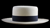 "Marcie Polo Montecristi Panama hat with an ""up"" brim viewed from the front"