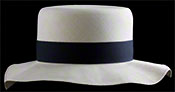 "Marcie Polo Montecristi Panama hat with a ""wobbly"" brim viewed from the front"