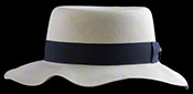"Marcie Polo Montecristi Panama hat with a ""wobbly"" brim viewed from the side"