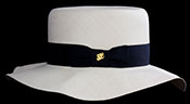 "Marcie Polo Montecristi Panama hat with a ""wobbly"" brim viewed from the back"