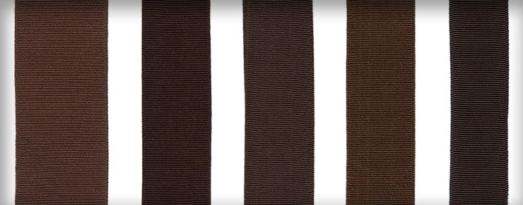 Ribbons in Jamaica Brown, Havana Brown, Fall Brown, Naples Brown, and Charcoal Brown shown in various widths