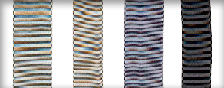 Ribbons in Silver Sand, Happy Gray, and Storm Gray shown in various widths