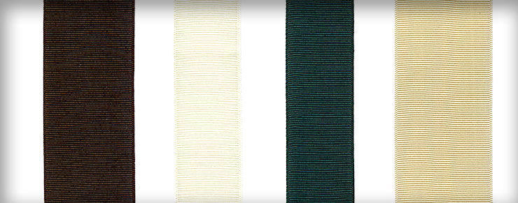 Ribbons in Chocolate Brown, Bone White, and Forest Green shown in various widths
