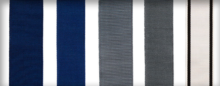 Ribbons in Mediterranean Blue, Cool Blue, and Deco 1 shown in various widths