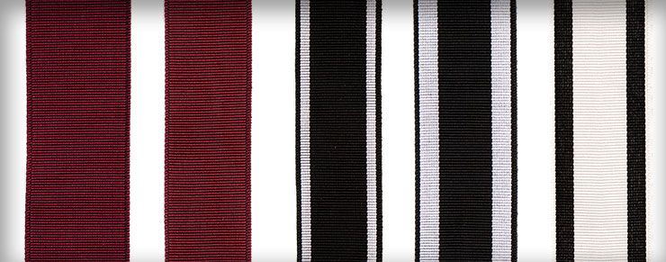 Ribbons in Cabernet, Tuxedo 1, Tuxedo 2, and Deco 2 shown in various widths