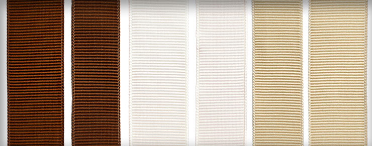 Ribbons in Sienna, White Sand, and Parchment shown in various widths