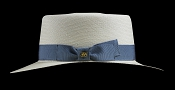 Bahama Beach Blanco genuine Panama hat - blue ribbon side view