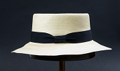 Beach Porkpie Blanco genuine Panama hat - top