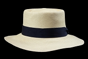 Beach Porkpie Blanco genuine Panama hat - side view