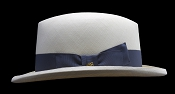 Homburg genuine Panama hat - blue ribbon side view