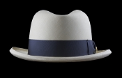 Homburg genuine Panama hat - front view blue ribbon