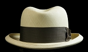 Homburg genuine Panama hat - brown ribbon