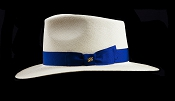Kentucky Smith Blanco genuine Panama hat - blue ribbon side view