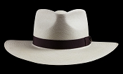 Kentucky Smith Blanco genuine Panama hat - Havana brown ribbon front view