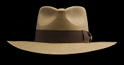 Kentucky Smith Cocoa genuine Panama hat - Jamaica brown ribbon front view