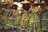Colorful Ecuadorian folk dancers